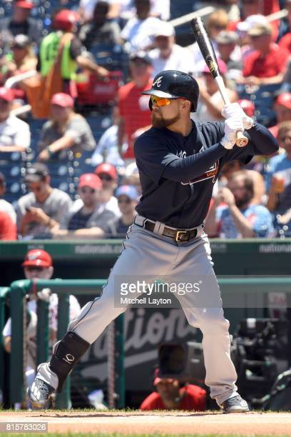 Ender Inciarte of the Atlanta Braves prepares for pitch during a baseball game against the Washington Nationals at Nationals Park on July 9 2017 in...