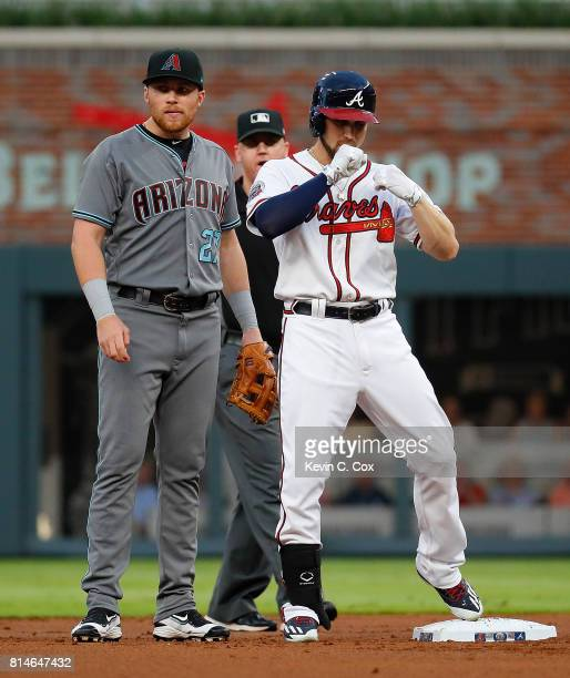 Ender Inciarte of the Atlanta Braves reacts after hitting a double in the first inning against the Arizona Diamondbacks at SunTrust Park on July 14...