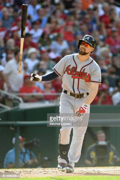 Ender Inciarte of the Atlanta Braves reacts to swing during a baseball game against the Washington Nationals at Nationals Park on July 8 2017 in...