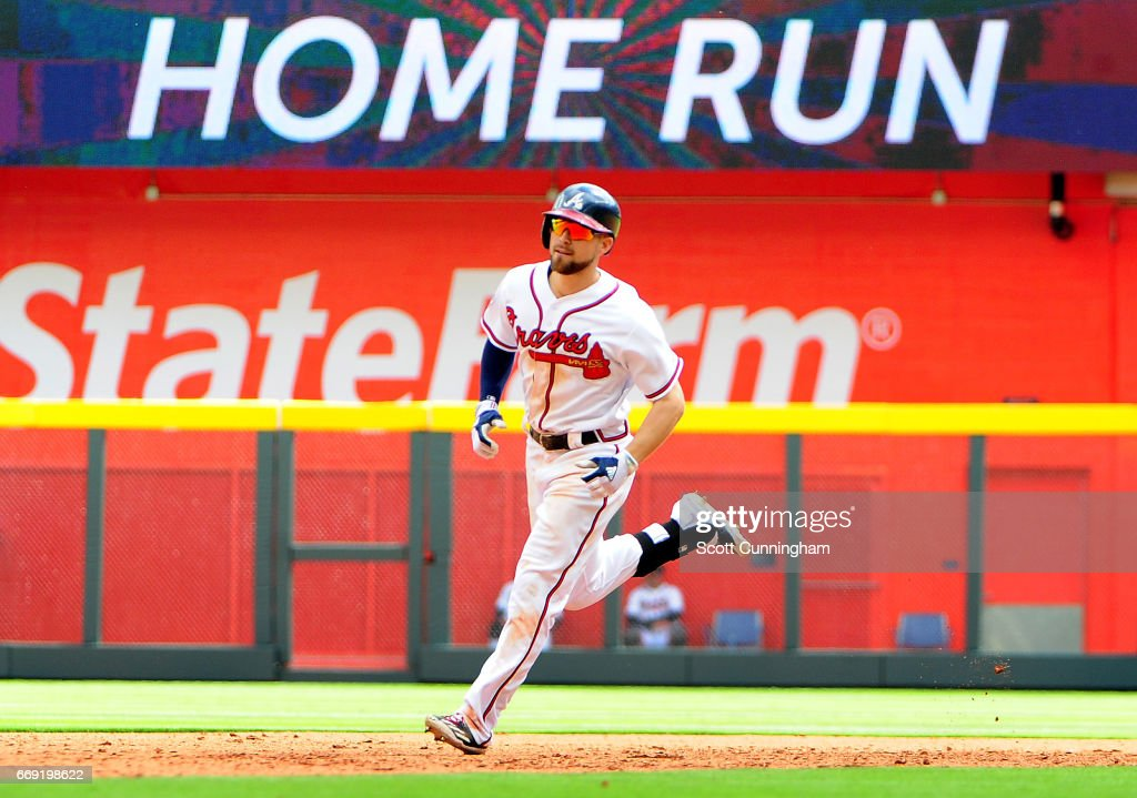 Ender Inciarte 11 Of The Atlanta Braves Rounds Bases After Hitting A Seventh Inning