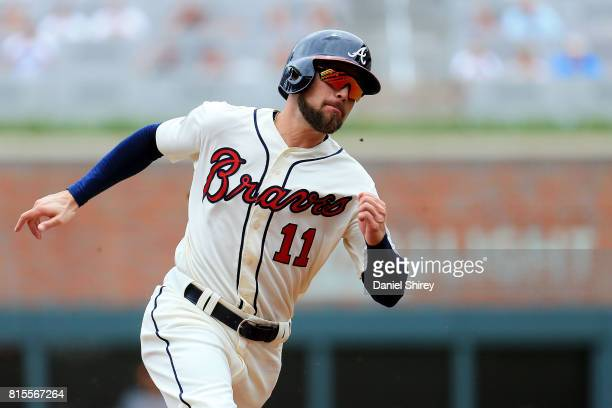 Ender Inciarte of the Atlanta Braves runs from first to third to score during the first inning against the Arizona Diamondbacks at SunTrust Park on...