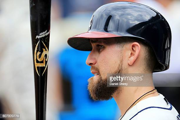 Ender Inciarte of the Atlanta Braves waits to bat in the fifth inning against the Washington Nationals at Turner Field on September 17 2016 in...