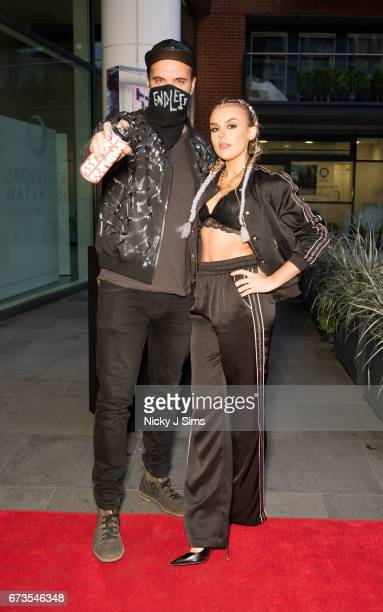 Endless and Tallia Storm are seen arriving at Endless The Royal Variety Adornments Exhibition Launch at Chelsea Waterside Artspace on April 26 2017...