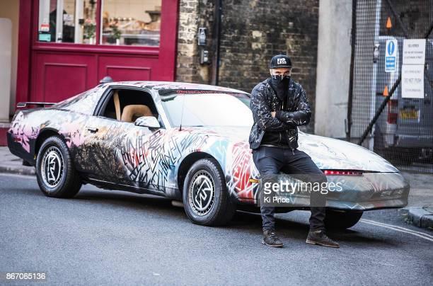 Endless Artist sprayed a punk mural on an original KITT car from the retro hit TV series Knight Rider on October 27 2017 in London England