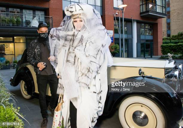 Endless is seen tagging the outfit worn by Daniel Lismore at Endless The Royal Variety Adornments Exhibition Launch at Chelsea Waterside Artspace on...
