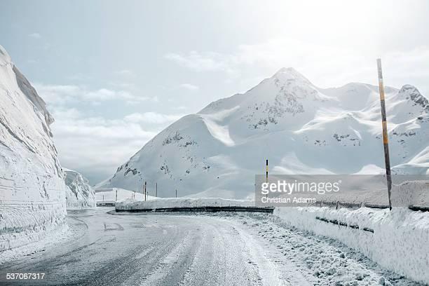 Endless snow mountain road