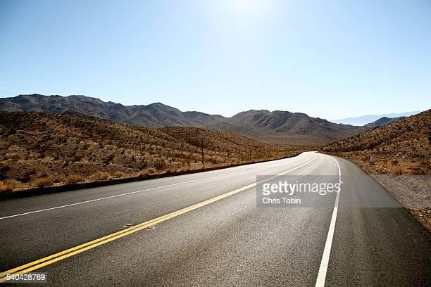 endless street in the desert mountain