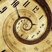 Endless Time Effect Concept Illustration - Vintage Clock Swirl Effect.