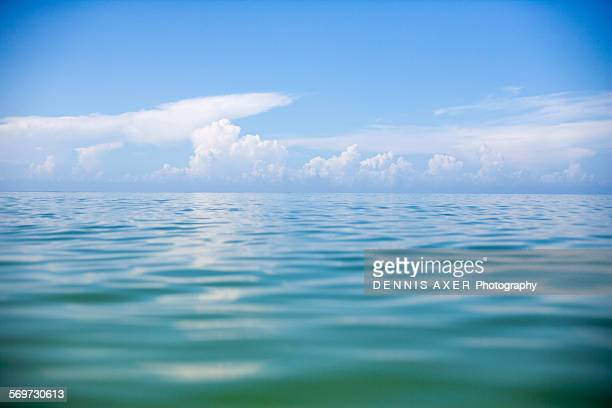 Endless water with clouds on horizon