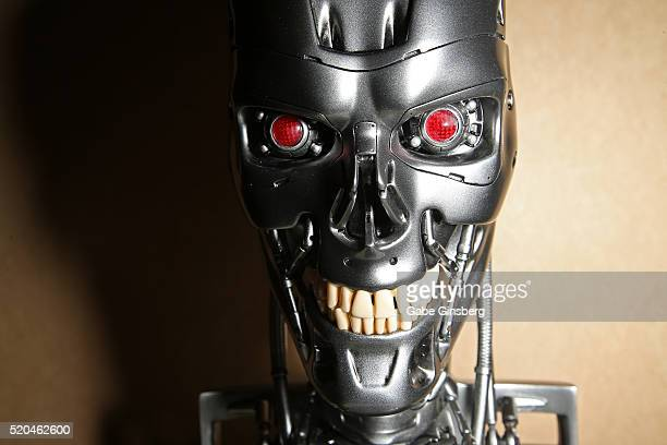 A endoskeleton skull from the movie 'Terminator Genisys' is displayed at CinemaCon at Caesars Palace on April 11 2016 in Las Vegas Nevada