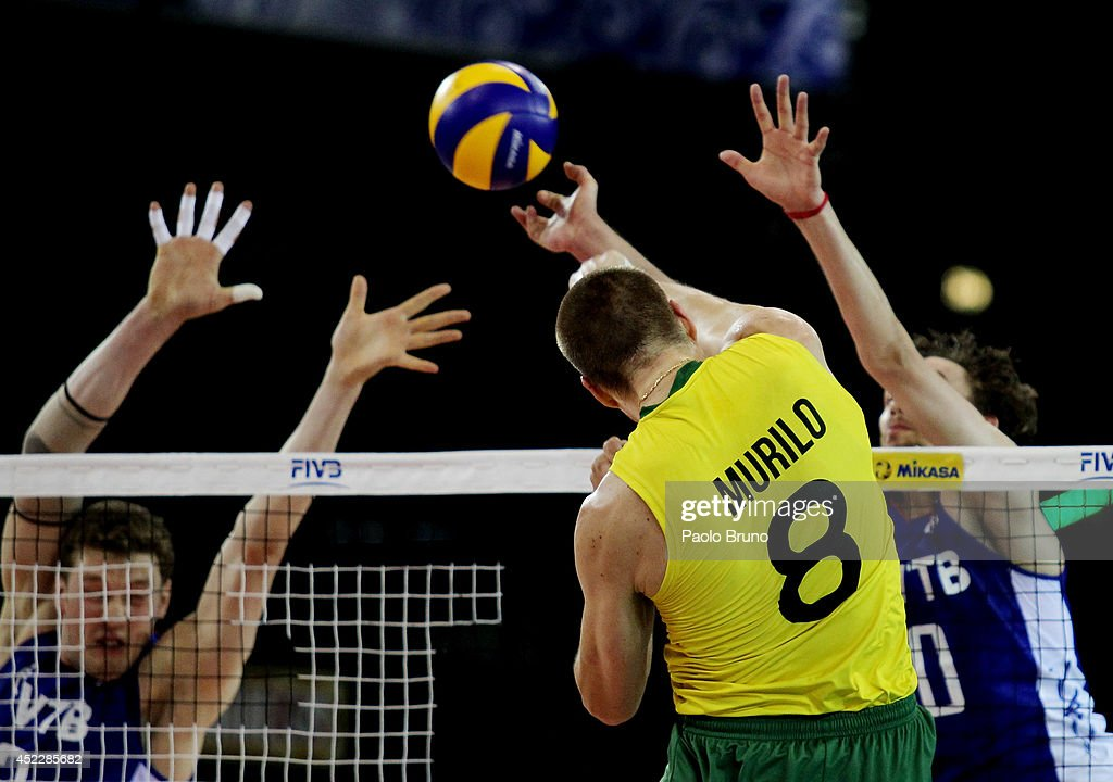 Endres Murilo of Brazil spikes the ball during the FIVB World League Final Six match between Russia and Brazil at Mandela Forum on July 17, 2014 in Florence, Italy.