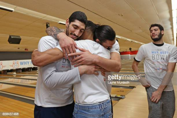 Ends Kanter and Steven Adams of the Oklahoma City Thunder hug during Russell Westbrook's 7th annual Why Not Foundation bowling event on March 24 2017...