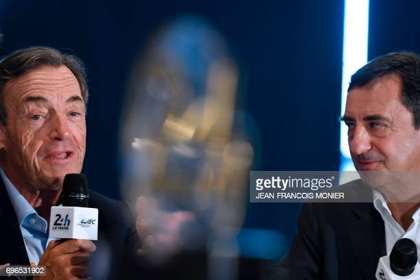 FIA Endurance Committee President Lindsay OwenJones speaks next to the President of the Automobile Club de lOuest Pierre Fillon in charge of the...