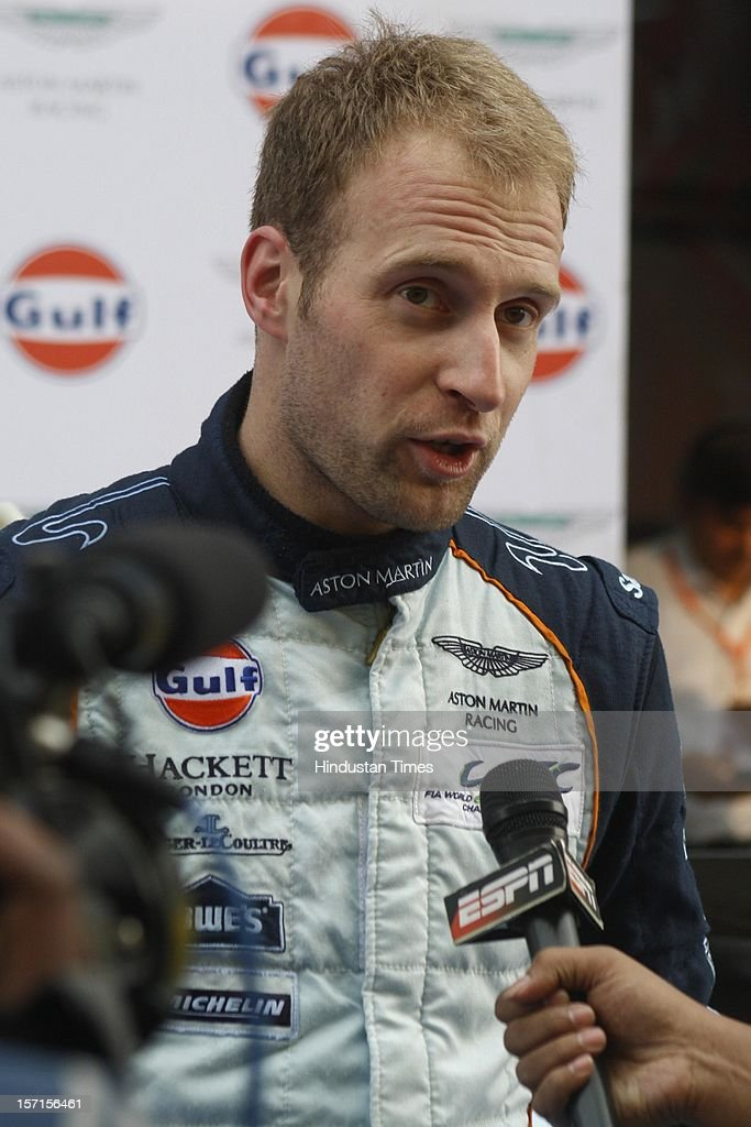 Endurance motorsport racer Stefan Mucke debut of Aston Martin GTE at the Buddh International Circuit on November 19, 2012 in Greater Noida, India. One of the most powerful cars in its class it can touch the top speed of 300 km/h and capable of reaching 100 km/h in just 3 seconds.