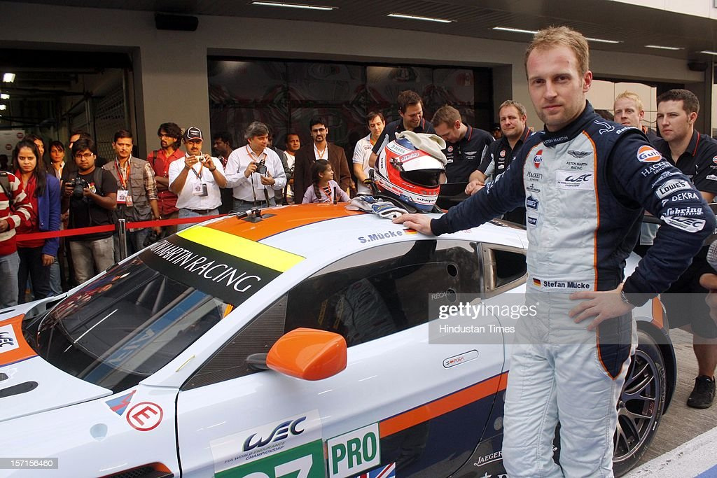 Endurance motorsport racer Stefan Mucke with Aston Martin GTE which debuted at the Buddh International Circuit on November 19, 2012 in Greater Noida, India. One of the most powerful cars in its class it can touch the top speed of 300 km/h and capable of reaching 100 km/h in just 3 seconds.