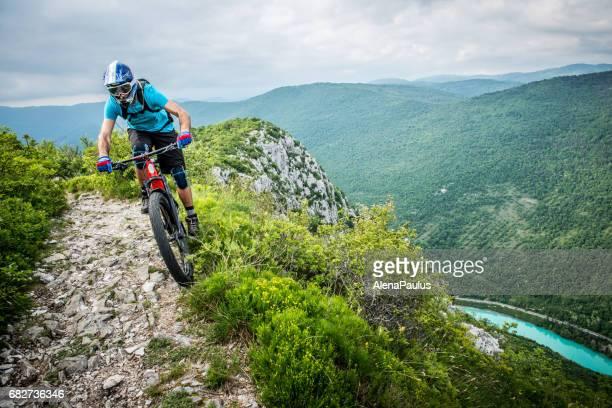 Enduro All Mountain E bike rider - adrenaline MTB trail