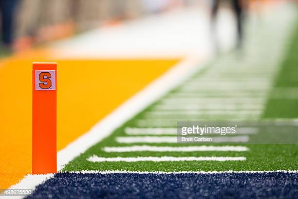 Endzone pylon with the Syracuse Orange logo during the game against the Clemson Tigers on November 14 2015 at The Carrier Dome in Syracuse New York...
