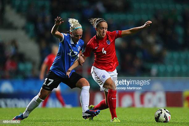 Eneli Vals of Estonia competes with Josanne Potter of England during UEFA Women's Euro 2017 Qualifier match between Estonia and England at A Le Coq...