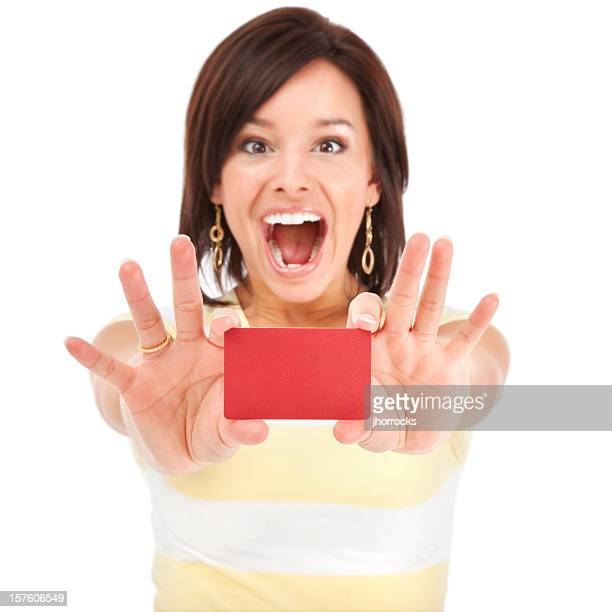 Energetic Young Woman with Gift Card