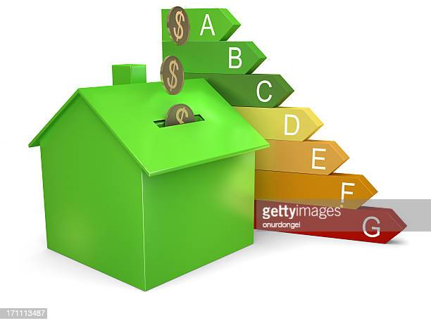 Energy efficiency graphic with coins dropping into house