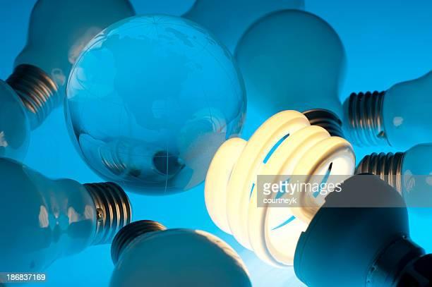 Ampoule économie d'énergie avec de la terre globe