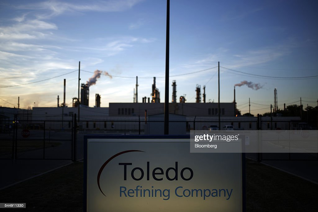 PBF Energy Inc Toledo Refining Company signage is displayed at the company's facility in Oregon Ohio US on Thursday June 30 2016 PBF Energy an...