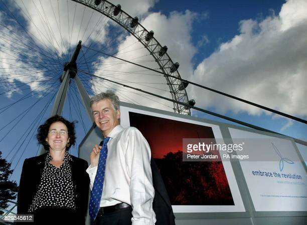 Energy Minister Michael O'Brien and Julia Barfield creator of British Airways London Eye pose during a photocall to launch an exhibition in London of...