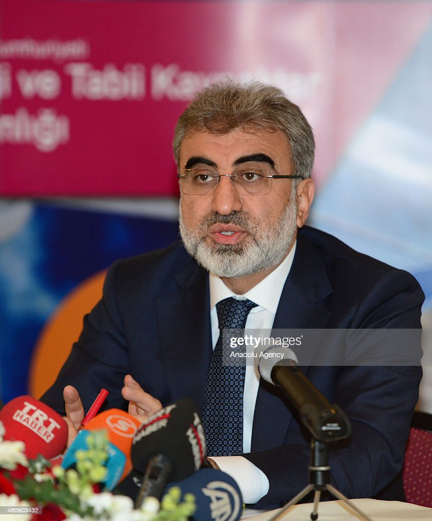 Energy Minister <a gi-track='captionPersonalityLinkClicked' href=/galleries/search?phrase=Taner+Yildiz&family=editorial&specificpeople=5871509 ng-click='$event.stopPropagation()'>Taner Yildiz</a> speaks during a press conference on 2014 energy activities at head office of Turkish Petroleum Corporation (TPAO) in Ankara, Turkey on December 30, 2014.
