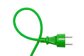 Green plug isolated on the white background