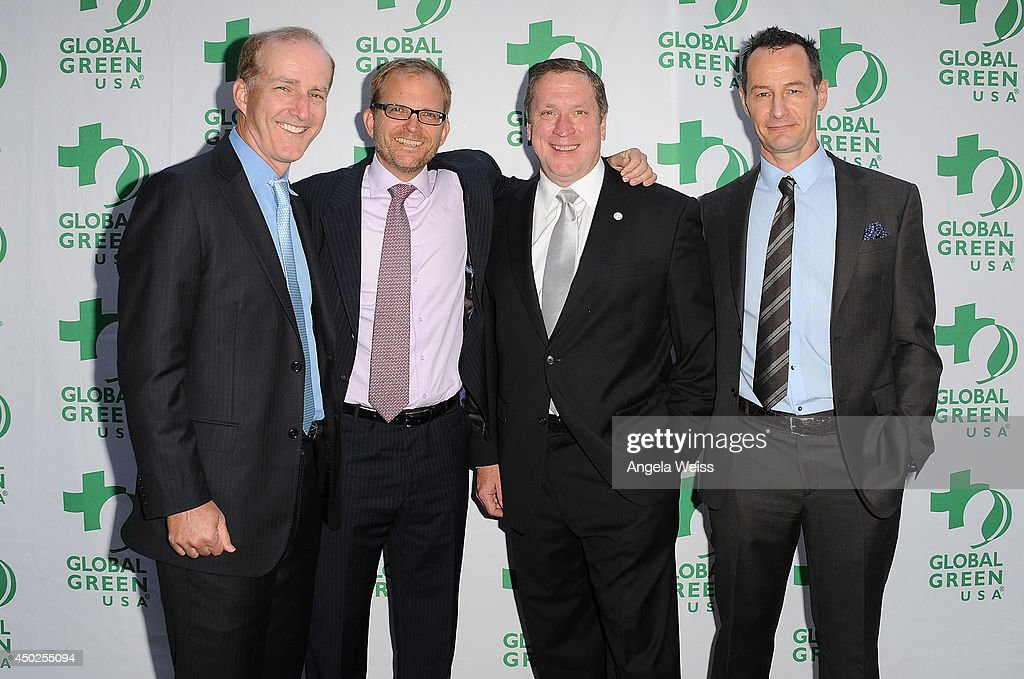L-R) NRG Energy President and CEO David Crane, Global Green USA Event Co-Founder and Board Member <a gi-track='captionPersonalityLinkClicked' href=/galleries/search?phrase=Matt+Petersen&family=editorial&specificpeople=221572 ng-click='$event.stopPropagation()'>Matt Petersen</a>, U.S. Green Building Council President, CEO, and Founding Chairman Rick Fedrizzi, and Global Green USA Event Co-Founder and Board Member <a gi-track='captionPersonalityLinkClicked' href=/galleries/search?phrase=Sebastian+Copeland&family=editorial&specificpeople=763029 ng-click='$event.stopPropagation()'>Sebastian Copeland</a> arrive at Global Green USA's 18th Annual Millennium Awards at Fairmont Miramar Hotel on June 7, 2014 in Los Angeles, California.
