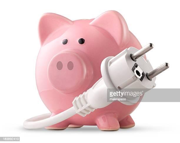 Energy saving. Electric plug with piggy bank.