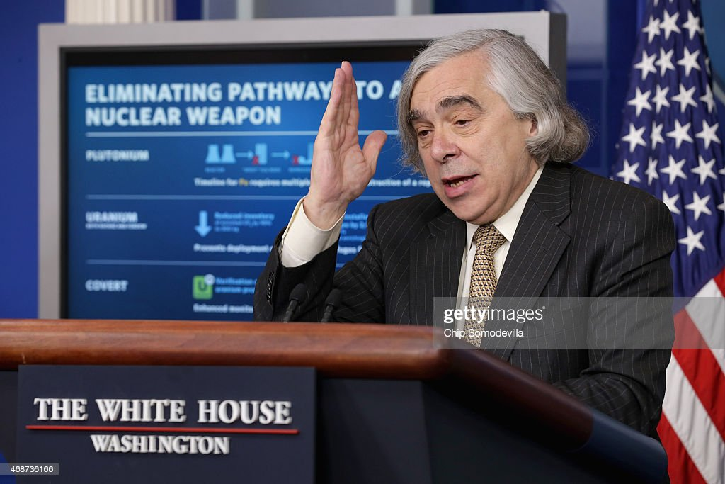 U.S. Energy Secretary <a gi-track='captionPersonalityLinkClicked' href=/galleries/search?phrase=Ernest+Moniz&family=editorial&specificpeople=7551550 ng-click='$event.stopPropagation()'>Ernest Moniz</a> briefs reporters about how the recent international agreement that will eliminate Iran's pathways to making a nuclear weapon in the Brady Press Briefing Room at the White House April 6, 2015 in Washington, DC. Moniz was part of the United States' team of negotiators that worked out the agreement between Iran and the five permanent members of the UN Security Council and Germany.