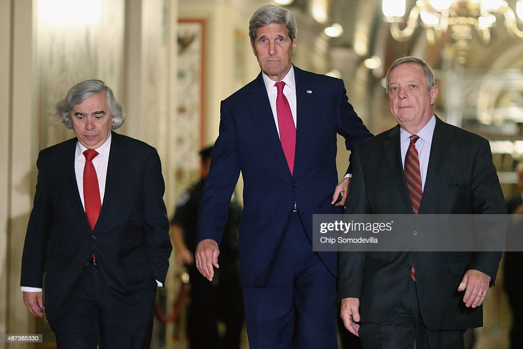 U.S. Energy Secretary Ernest Moniz, Secretary of State John Kerry and Senate Minority Whip Richard Durbin (D-IL) leave after meeting with members of Congress at the U.S. Capitol September 9, 2015 in Washington, DC. Moniz and Kerry briefed members of the House and Senate about the Syrian refugee crisis in Europe and the Iran nuclear deal.