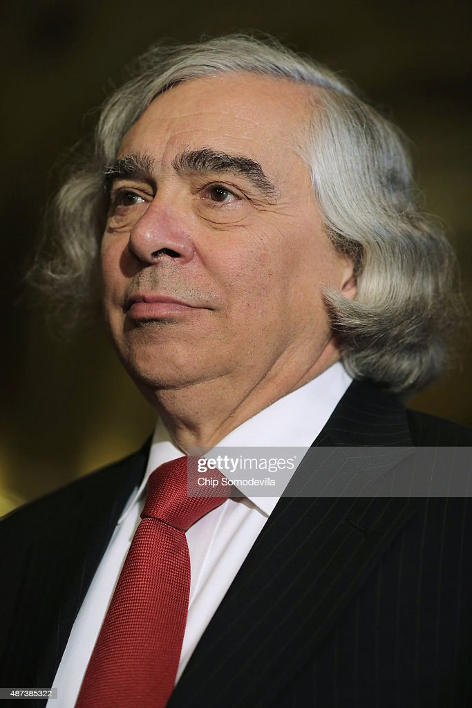 U.S. Energy Secretary <a gi-track='captionPersonalityLinkClicked' href=/galleries/search?phrase=Ernest+Moniz&family=editorial&specificpeople=7551550 ng-click='$event.stopPropagation()'>Ernest Moniz</a> talks with reporters after meeting with members of Congress at the U.S. Capitol September 9, 2015 in Washington, DC. Moniz and Secretary of State John Kerry briefed members of the House and Senate about the Syrian refugee crisis in Europe and the Iran nuclear deal.