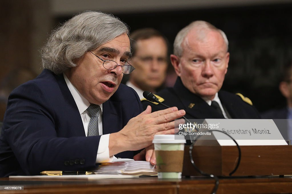 Energy Secretary <a gi-track='captionPersonalityLinkClicked' href=/galleries/search?phrase=Ernest+Moniz&family=editorial&specificpeople=7551550 ng-click='$event.stopPropagation()'>Ernest Moniz</a> (L) testifies before the Senate Armed Services Committee about the nuclear deal struck between Iran and six nations, including the United States, with Chairman of the Joint Chiefs of Staff Gen. <a gi-track='captionPersonalityLinkClicked' href=/galleries/search?phrase=Martin+Dempsey&family=editorial&specificpeople=2116621 ng-click='$event.stopPropagation()'>Martin Dempsey</a> on Capitol Hill July 29, 2015 in Washington, DC. Moniz and Secretary of State John Kerry met with the Iranians in Europe to negotiate the deal, which the Obama administration says will eliminate Iran's ability to make a nuclear weapon for at least ten years.