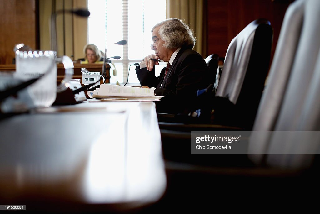 Energy Secretary <a gi-track='captionPersonalityLinkClicked' href=/galleries/search?phrase=Ernest+Moniz&family=editorial&specificpeople=7551550 ng-click='$event.stopPropagation()'>Ernest Moniz</a> testifies before the Senate Energy and Natural Resources Committee about the potential modernization of the Strategic Petroleum Reserve and related energy security issues in the Dirksen Senate Office Building on Capitol Hill October 6, 2015 in Washington, DC. Created in the wake of the 1973 energy crisis, the reserve is supposed to make sure the U.S. economy will not be hurt by an embargo or sharp price spike and Moniz estimates that $2 billion will be needed for distribution work and other technical upgrades.