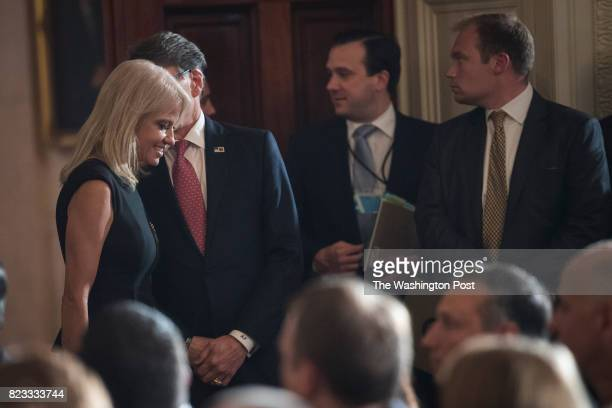 Energy Secretary Rick Perry and Counselor to the President Kellyanne Conway talk before President Donald Trump announces the first US assembly plant...
