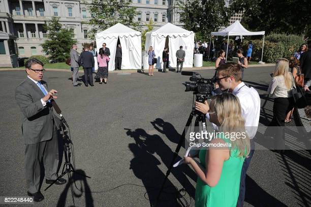 S Energy Secretary Rick Perry is interviewd during 'Regional Media Day' at the White House July 25 2017 in Washington DC Conservative media outlets...