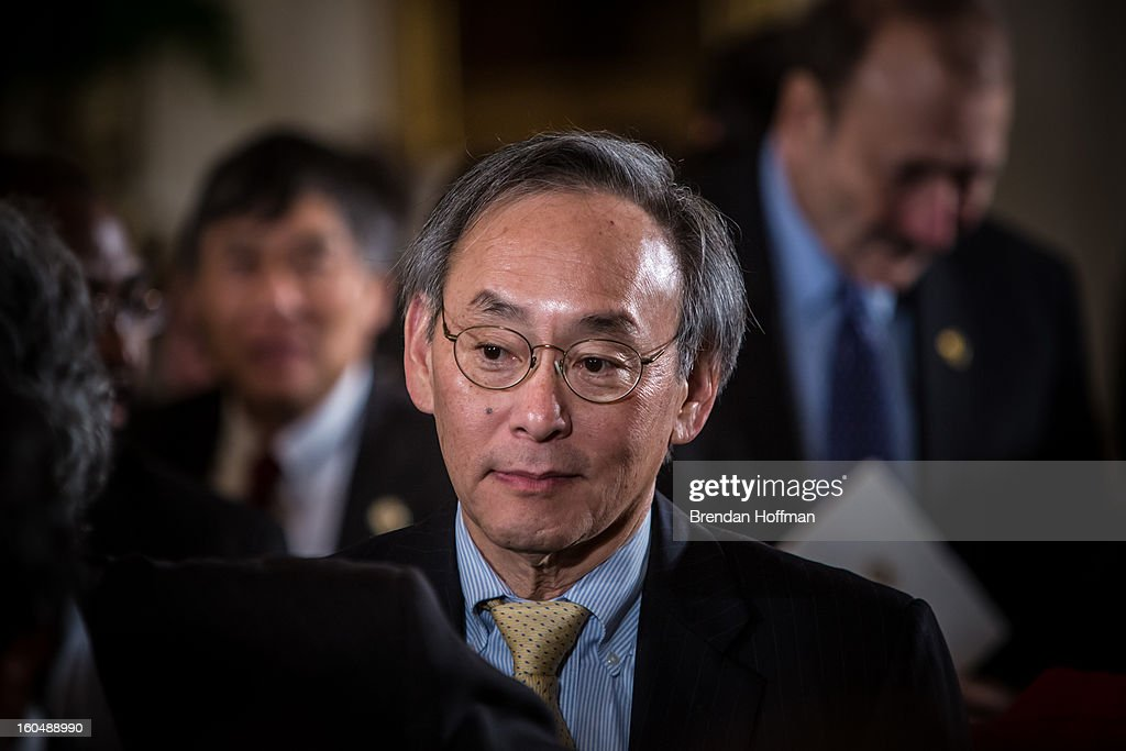 Energy Secretary <a gi-track='captionPersonalityLinkClicked' href=/galleries/search?phrase=Steven+Chu&family=editorial&specificpeople=2732289 ng-click='$event.stopPropagation()'>Steven Chu</a> attends a ceremony at the White House awarding the National Medals of Science and the National Medals of Technology and Innovation on February 1, 2013 in Washington, DC. Chu announced earlier in the day he is leaving his post. Photo by Brendan Hoffman/Getty Images)