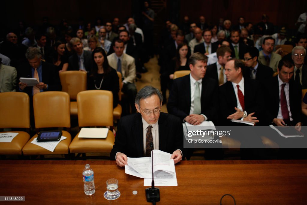 Energy Secretary <a gi-track='captionPersonalityLinkClicked' href=/galleries/search?phrase=Steven+Chu&family=editorial&specificpeople=2732289 ng-click='$event.stopPropagation()'>Steven Chu</a> looks over his notes before testifying to the Senate Appropriations Committee Energy and Water Development Subcommittee on Capitol Hill May 18, 2011 in Washington, DC. Chu testified about the Energy Department's proposed FY2012 budget.