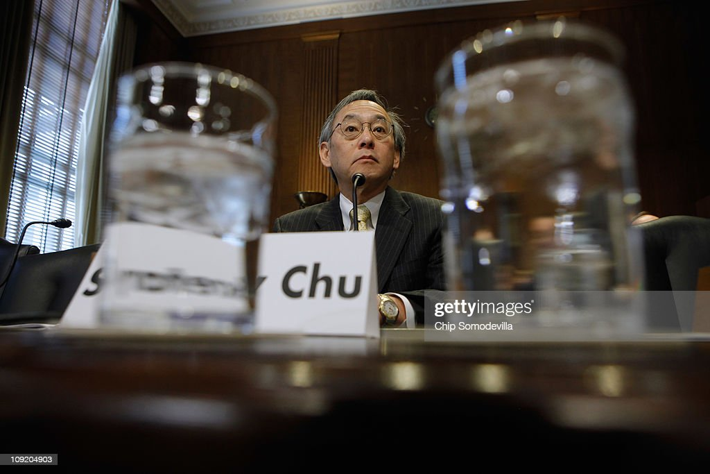U.S. Energy Secretary <a gi-track='captionPersonalityLinkClicked' href=/galleries/search?phrase=Steven+Chu&family=editorial&specificpeople=2732289 ng-click='$event.stopPropagation()'>Steven Chu</a> prepares to testify before the Senate Energy and Natural Resources Committee on Capitol Hill February 16, 2011 in Washington, DC. Chu testified about the Obama Administration's proposed Fiscal Year 2012 budget for the Department of Energy.