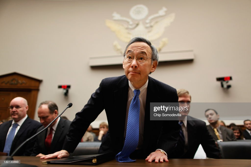 Energy Secretary <a gi-track='captionPersonalityLinkClicked' href=/galleries/search?phrase=Steven+Chu&family=editorial&specificpeople=2732289 ng-click='$event.stopPropagation()'>Steven Chu</a> takes his seat before testifying to the House Energy and Commerce Committee's Oversight and Investigations Subcommittee hearing about the government support for the failed solar panel company Solyndra on Capitol Hill November 17, 2011 in Washington, DC. Chu said 'the final decisions on Solyndra were mine.' The Energy Department provided the California maker of solar panels with a $535 million loan guarantee and refinancing before it went bankrupt in August 2011.