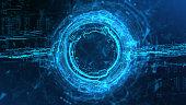 Rendering Energy Circle Hologram on black background. Energy stream Hologram