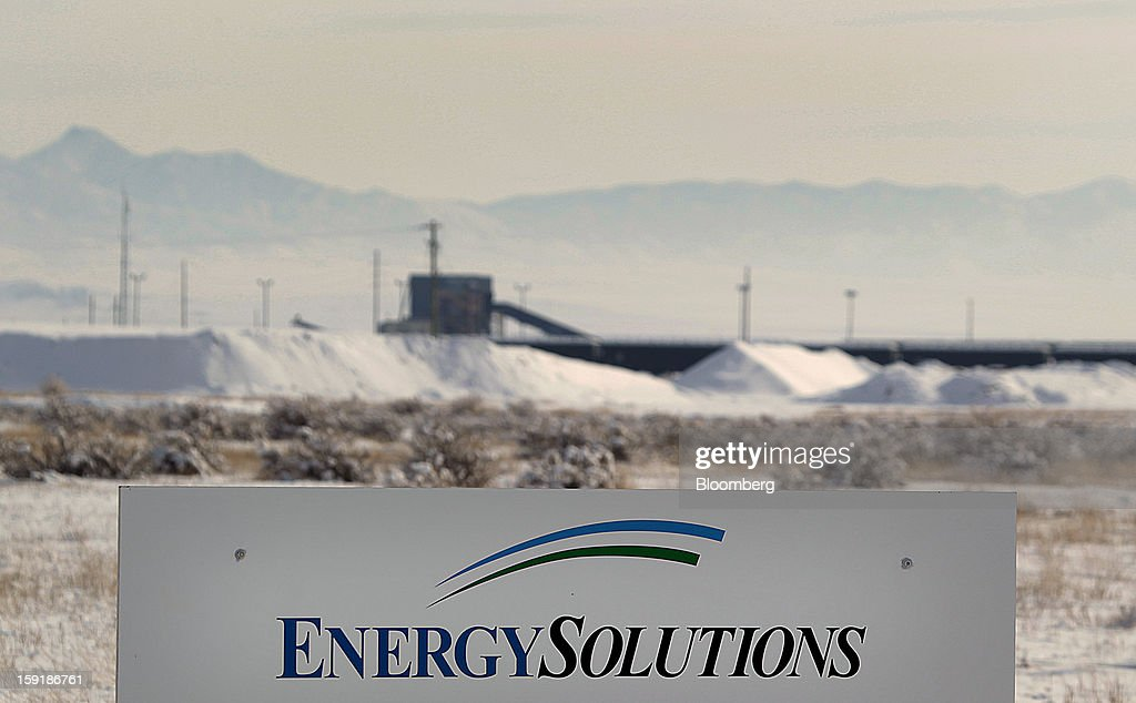 EnergySolutions Inc. signage is displayed outside of the company's low level radioactive waste disposal site in Clive, Utah, U.S., on Wednesday, Jan. 9, 2013. EnergySolutions Inc. obtained a commitment from Morgan Stanley to provide a senior secured credit facility to back its $1.1 billion buyout by Energy Capital Partners LLC. Photographer: George Frey/Bloomberg via Getty Images
