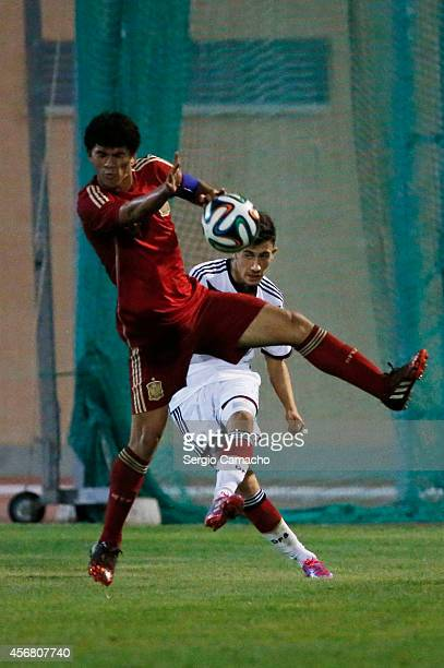 Enes Akyol of Germany shoots during the international friendly match between U17 Spain and U17 Germany at Campo Municipal de Nerja on October 7 2014...