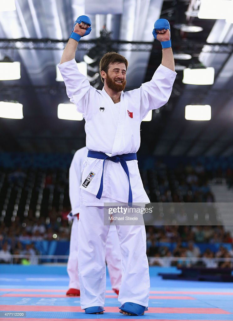 <a gi-track='captionPersonalityLinkClicked' href=/galleries/search?phrase=Enes+Erkan&family=editorial&specificpeople=10011855 ng-click='$event.stopPropagation()'>Enes Erkan</a> of Turkey celebrates as he wins gold against Jonathan Horner of Germany in the Men's Karate Kumite +84kg during day two of the Baku 2015 European Games at Crystal Hall on June 14, 2015 in Baku, Azerbaijan.