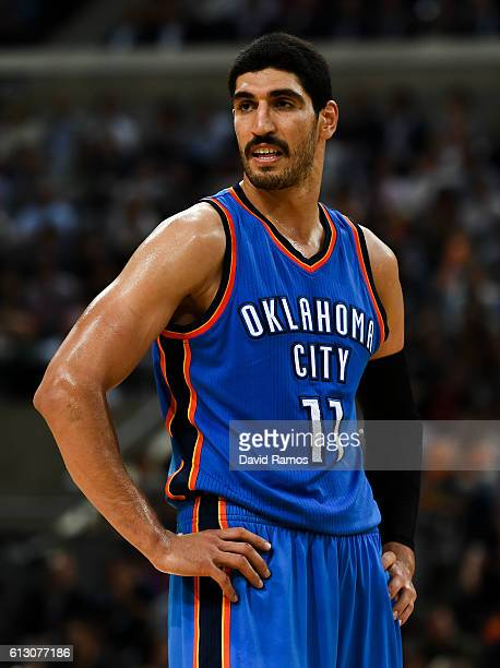 Enes Kanter of Oklahoma City Thunder looks on during the NBA Global Games Spain 2016 match between FC Barcelona Lassa and Oklahoma City Thunder at...