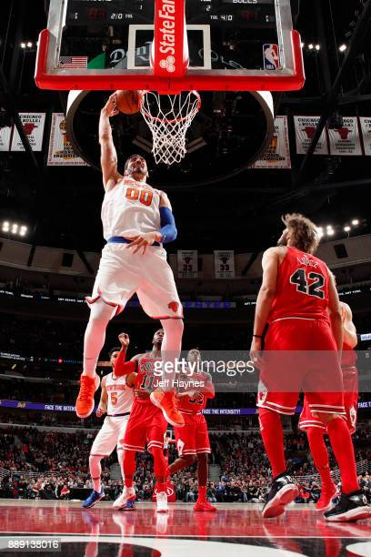 Enes Kanter of the New York Knicks goes to the basket against the Chicago Bulls on December 9 2017 at the United Center in Chicago Illinois NOTE TO...