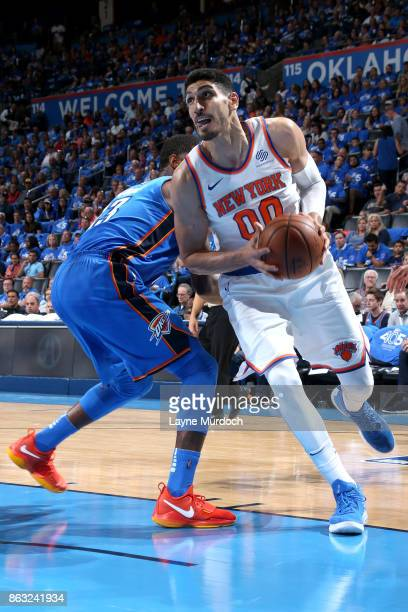Enes Kanter of the New York Knicks handles the ball against the Oklahoma City Thunder on October 19 2017 at Chesapeake Energy Arena in Oklahoma City...