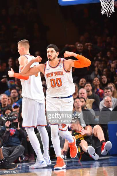 Enes Kanter of the New York Knicks is pumped up after scoring against the Atlanta Hawks at Madison Square Garden on December 10 2017 in New York New...